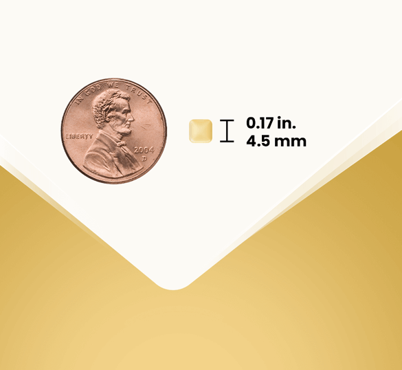 Pill size compared with penny.  Pill size 0.17 in, 4.5 mm.